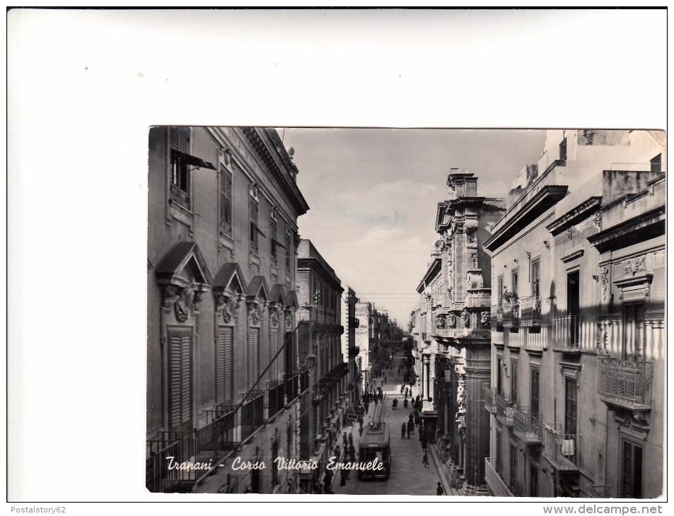 Trapani, Corso Vittorio Emanuele. Cartolina Viagg. 1954. Franc. Asportato - Trapani