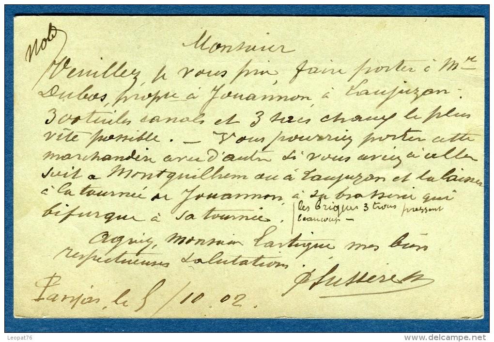 France - Oblitération Du Gers ( De Panjas )  Sur Entier Postal Mouchon 1902  Voir 2 Scans   Réf. 860 - Postmark Collection (Covers)