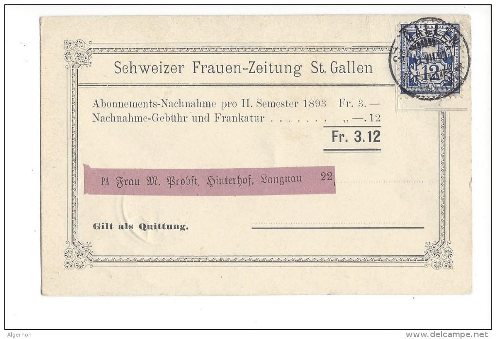 14501 - Schweizer Frauen-Zeitung St.Gallen Abonnements Nachnahme Pour Langnau12.07.1893 - Lettres & Documents