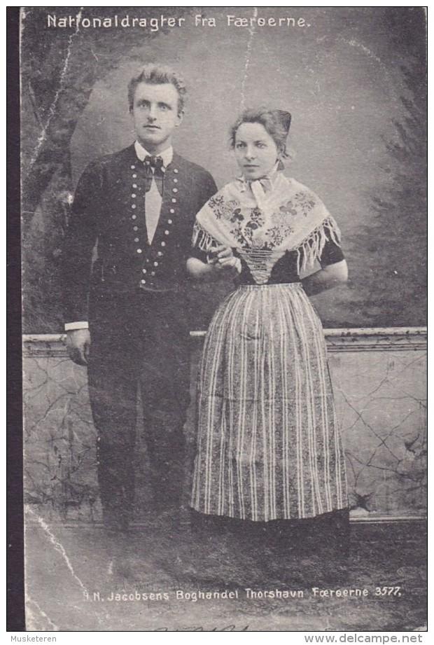 Faroe Islands PPC Nationaldragter Fra Færøerne H. N. Jacobsens Boghandel Thorshavn 3577 THORSHAVN 1909 PARIS France (2 S - Färöer
