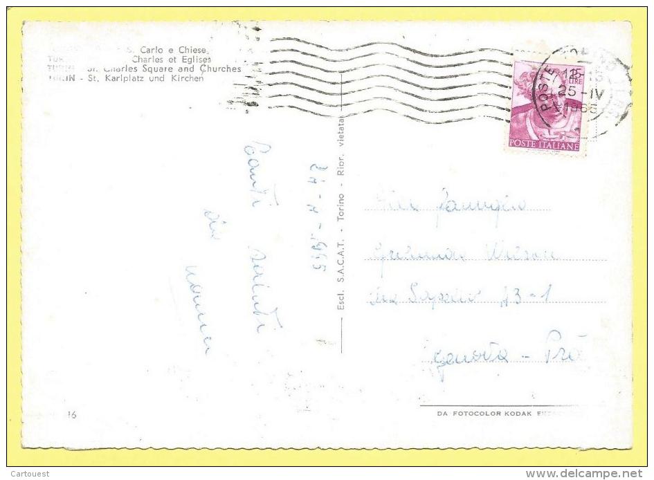 CPSM TORINO ☼ Piazzia Carlo ☼ 1965 - Churches