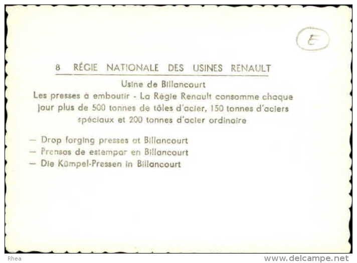 AUTOMOBILES - Petite Vue - REGIE NATIONALE DES USINES RENAULT - USINE DE BILLANCOURT - - Non Classés
