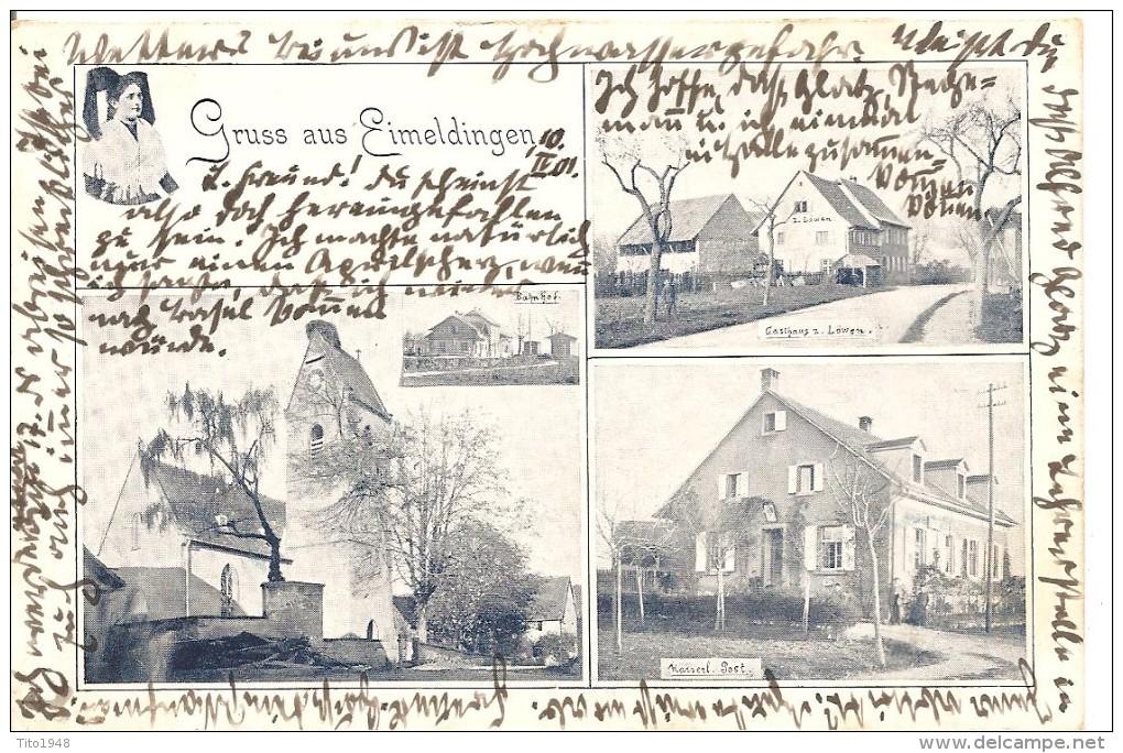 Deutschland, 1901, Gruss Aus Eimeldingen, Post, Löwen, Bahnhof, Basel Nach Elgg, Siehe Scans! - Allemagne
