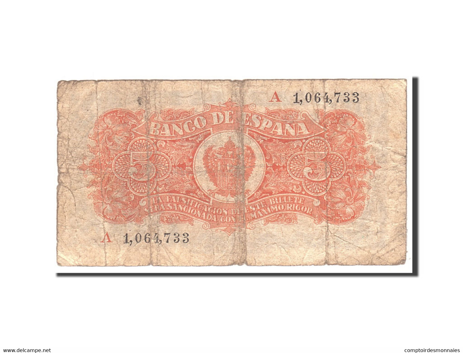 Espagne, 5 Pesetas, 1937, KM:106a, 1937-07-18, B - [ 3] 1936-1975 : Régence De Franco