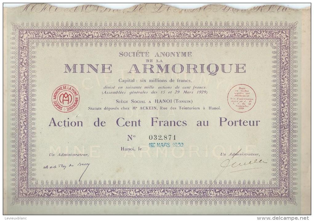 Action De 100 Fr Au Porteur/Sté Anonyme De La Mine Armorique/Hanoî/TONKIN/1930   ACT94bis - Afrique