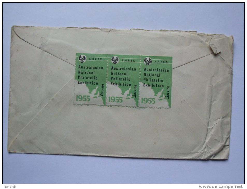 AUSTRALIA 1955 AUSTRALASIAN NATIONAL PHILATELIC EXHIBITION COVER ANPEX  HAND STAMP AIR MAIL TO UK WITH ANPEX CINDERELLAS - 1952-65 Elizabeth II: Dezimalausgaben (Vorläufer)