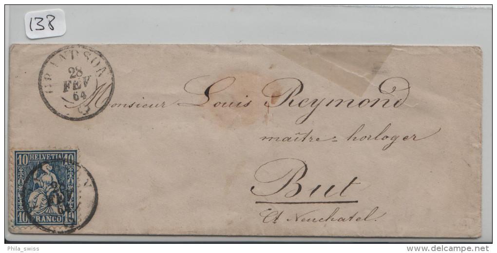 Sitzende Helvetia/Helvétie Assise 31 10c - Von Grandson Nach Buttes Via Fleurier - 1862-1881 Helvetia Assise (dentelés)