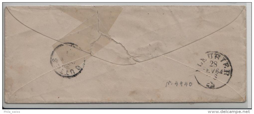 Sitzende Helvetia/Helvétie Assise 31 10c - Von Grandson Nach Buttes Via Fleurier - 1862-1881 Sitzende Helvetia (gezähnt)
