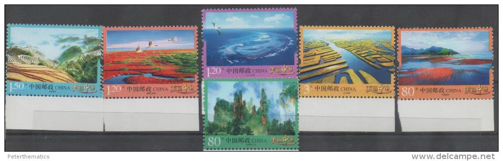 CHINA ,2013, MNH, LANDSCAPES, MOUNTAINS, RIVERS, BIRDS, 6v - Geology