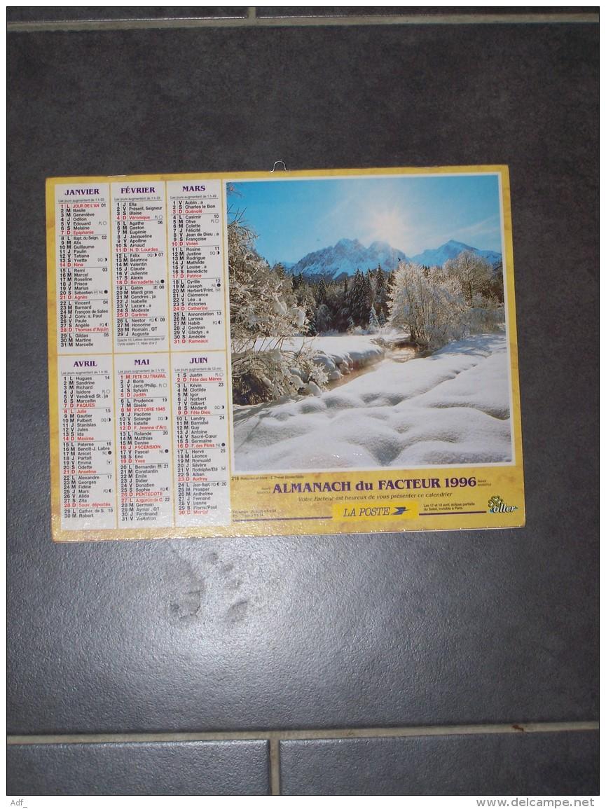 1996 CALENDRIER ( Double ) ALMANACH DU FACTEUR, LA POSTE, RUISSEAU EN HIVER, LES HOUCHES ( 74 ) - VAR 83 - Calendriers
