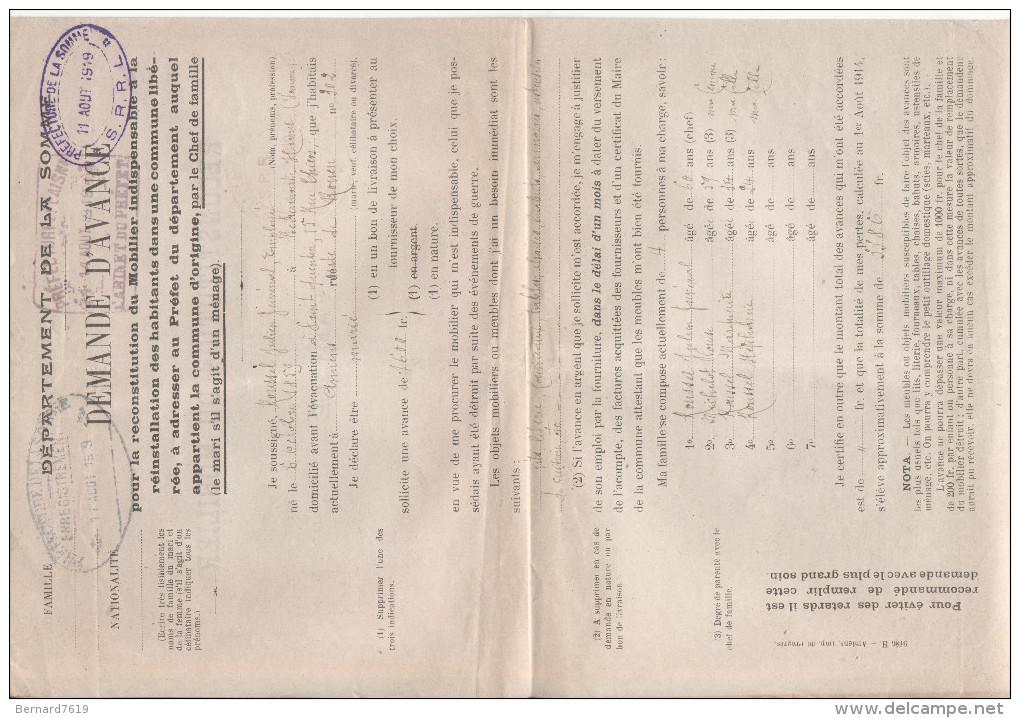02 SAINT QUENTIN  Reconstitution De Mobilier Aout 1919 - Saint Quentin