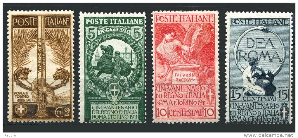 REGNO 1911 Cinquantenario Dell'Unità D'Italia 4v. Completa  MNH ** Integra Lusso! - Nuevos