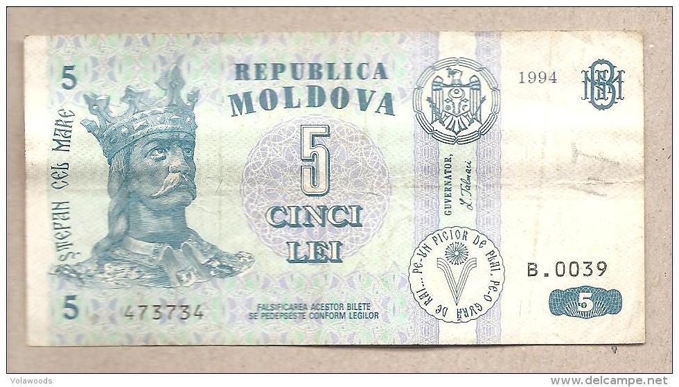 Moldavia - Banconota Circolata Da 5 Lei - 1994 - Moldova