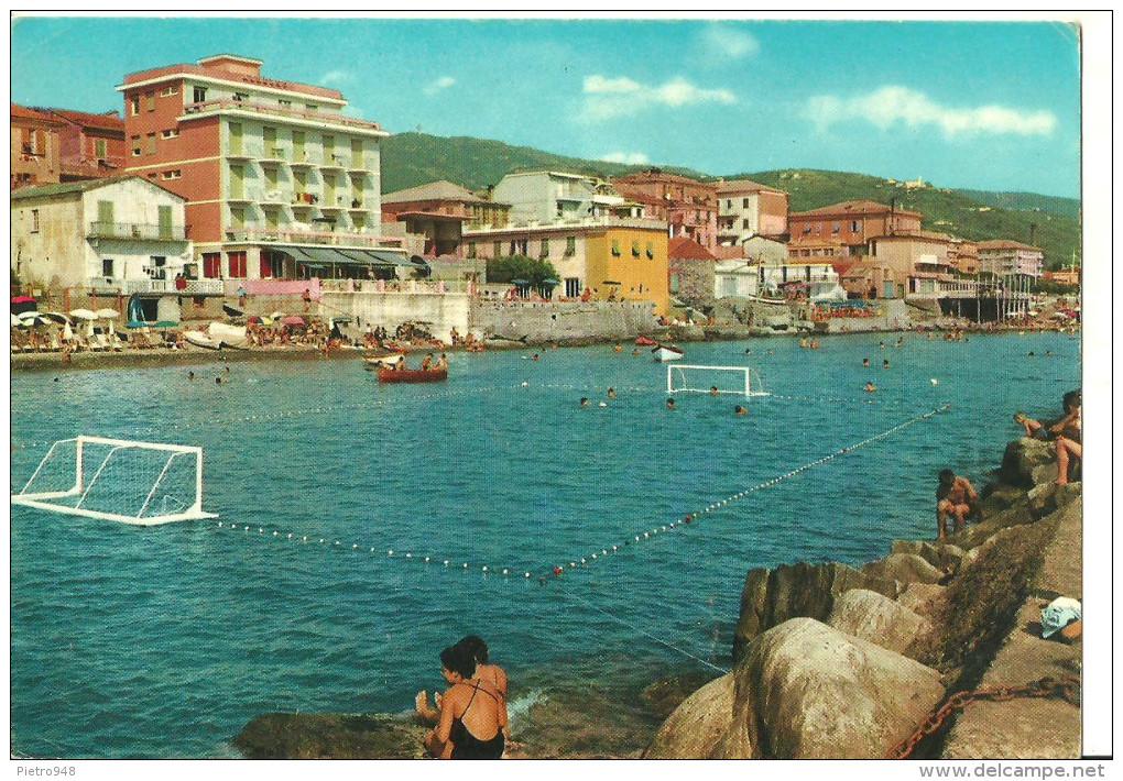 Lavagna (Genova) Veduta Dal Molo E Campo Pallanuoto, View From The Quay, Vue Du Quai, Ansicht Von Hafendamm Gesehen - Altre Città