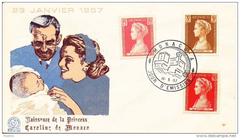 Monaco FDC 11-5-1957 Commemoration Of Birth Of Princess Caroline With Cachet - FDC