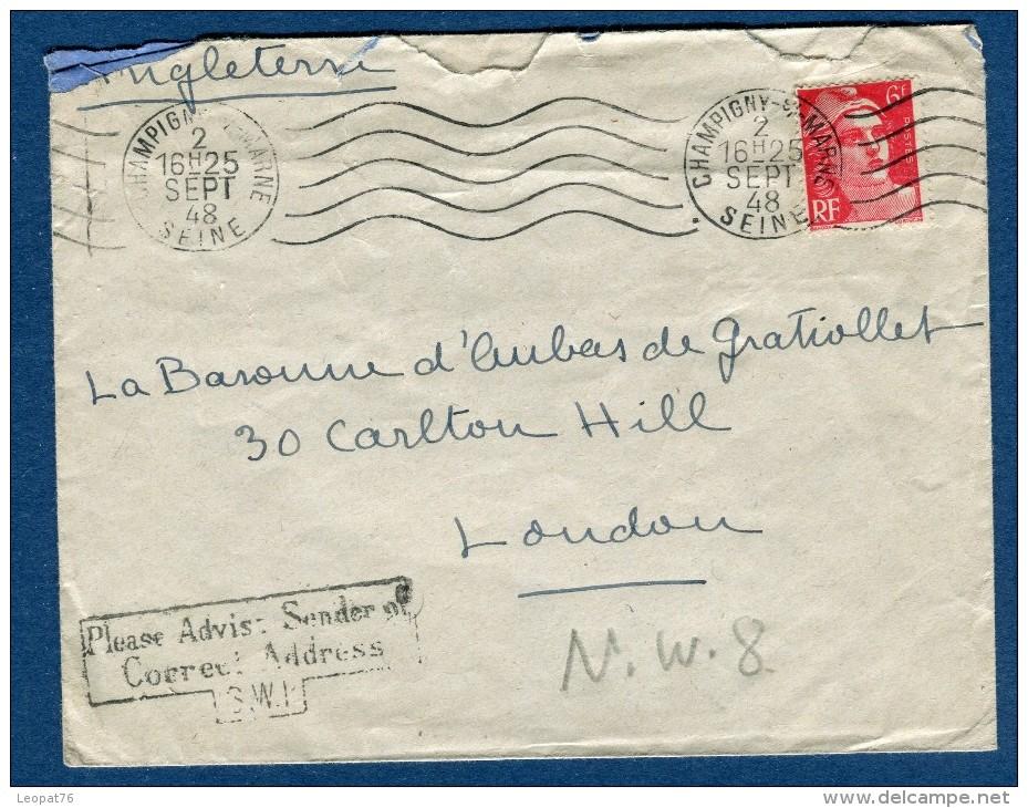 France - Enveloppe De Champigny Pour Londres En 1948 , Cachet Anglais Pour Adresse Correcte   Voir 2 Scans   Réf. 938 - Marcophilie (Lettres)
