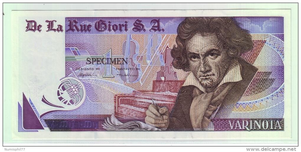 BILLET SPECIMEN ECHANTILLON TEST Distributeur Monnaie Banque De La Rue Giori SA - VARINOTA - Specimen