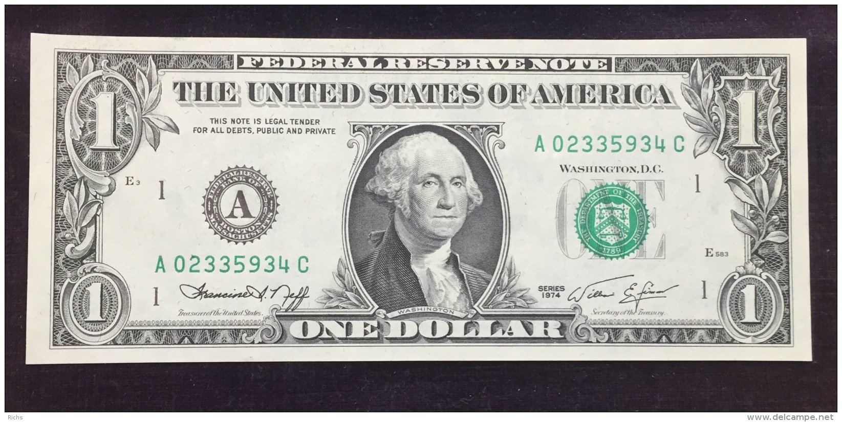 1974 One Dollar Federal Reserve Note - Billets De La Federal Reserve (1928-...)