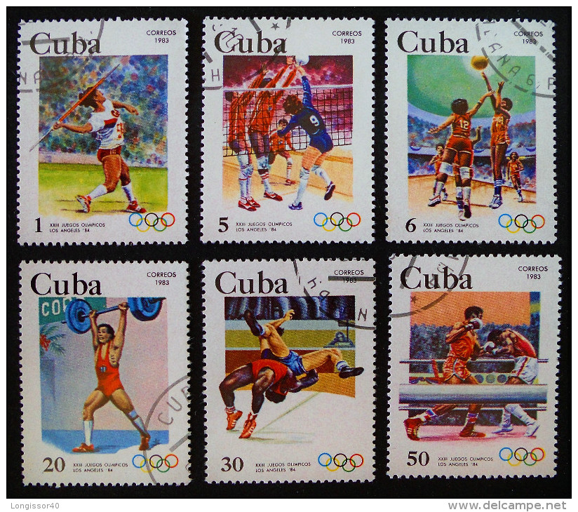 ANNEE PREOLYMPIQUE DES JEUX D´ETE A LOS ANGELES 1983 - OBLITERES - YT 2416/21 - MI 2716/21 - Cuba