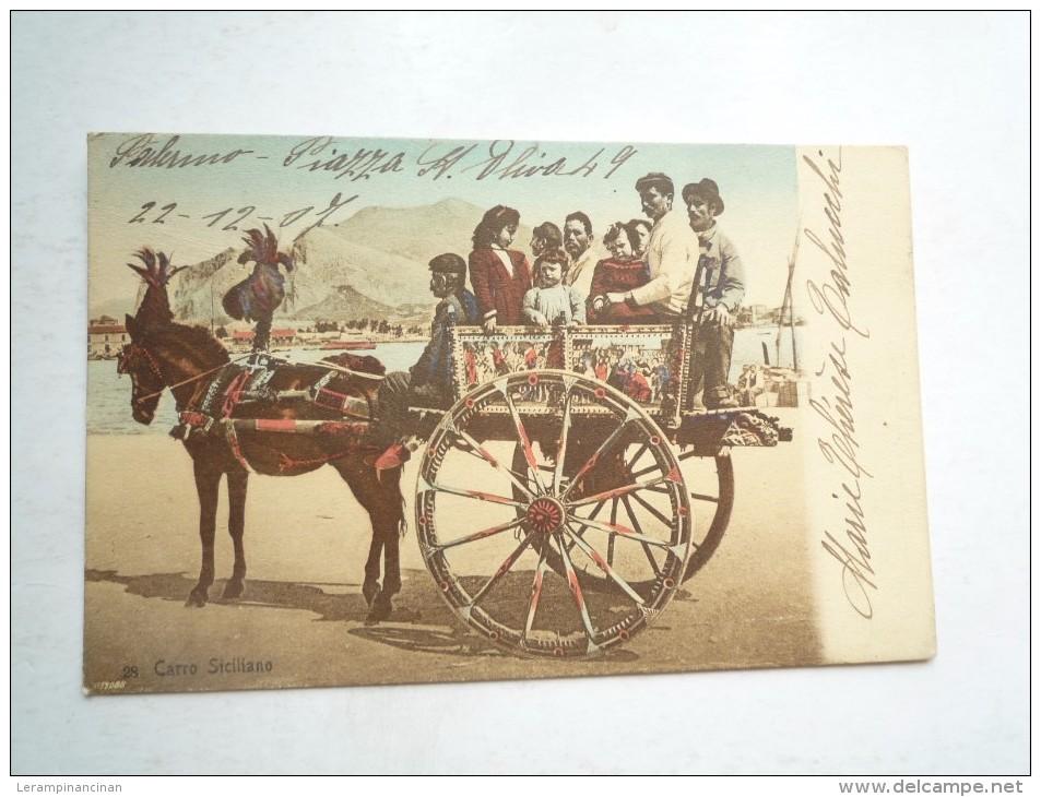 CARO SICILIANO 1907 CIRCULE DOS DIVISE BON ETAT COLORISÉ - Italia