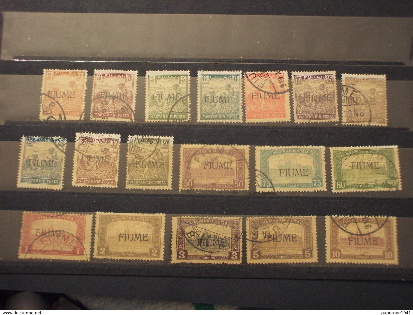 FIUME - 1916/7 MIETITORI E VEDUTE 18 VALORI - TIMBRATI/USED - 8. Occupazione 1a Guerra