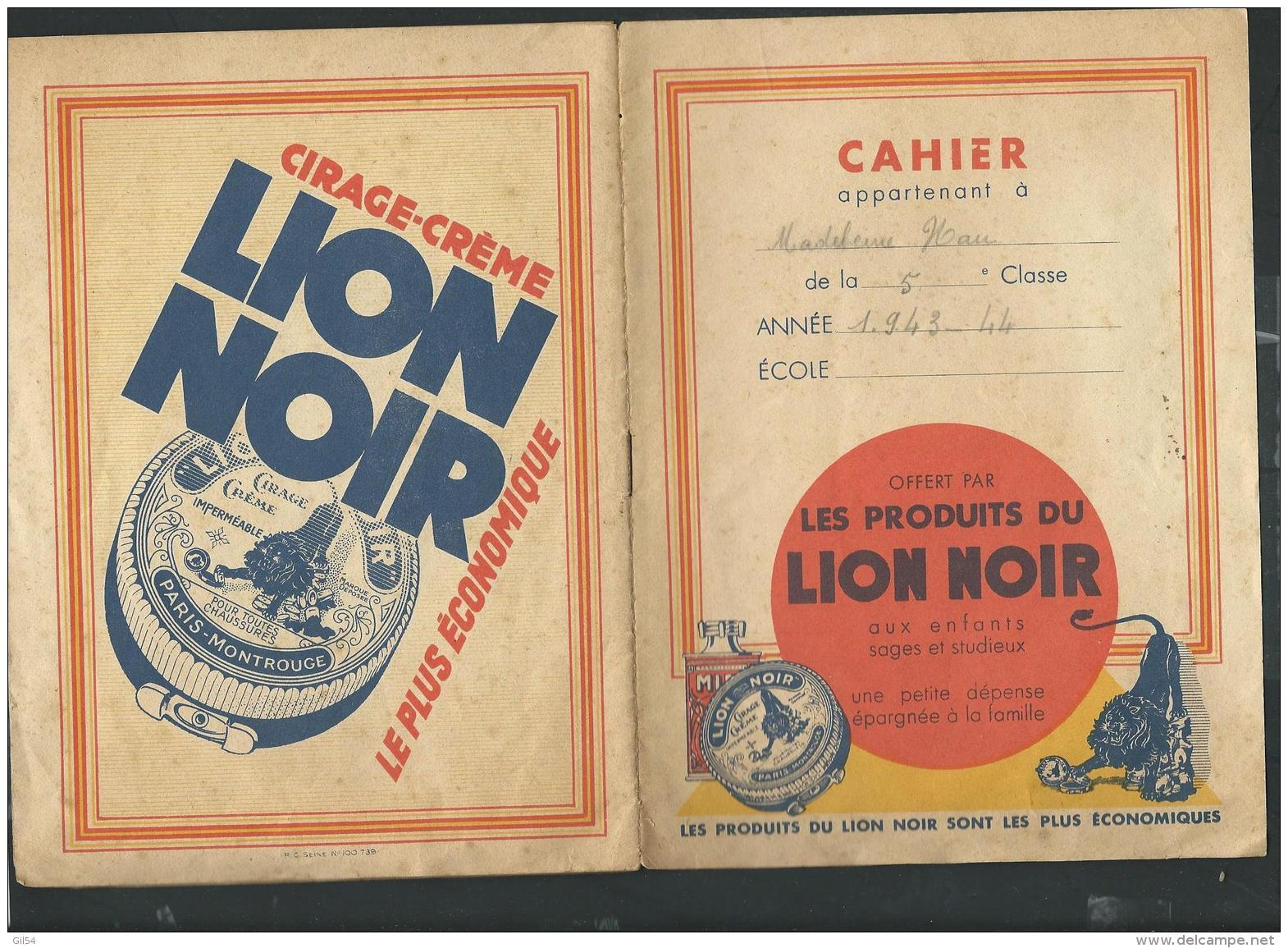 """Publicite Cirage Sur Porte Cahier Daté En 1943/44 """" Les Produits Du Lion Noir """" -  Vifg0607 - Vloeipapier"""