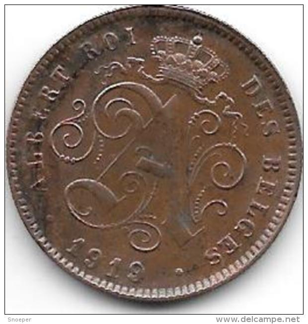 Belguim 2 Centimes 1919/14 Frenche    Xf  !!!!! - 1909-1934: Albert I