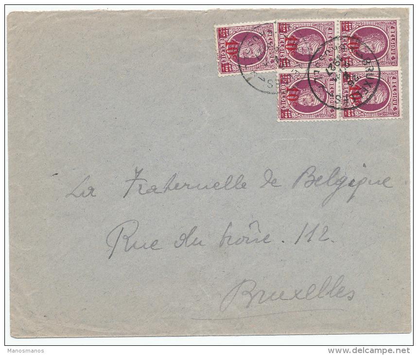 436/24 - Lettre TP Houyoux Surchargé X 5 Bruxelles 1927 En Ville - Affranchissement Peu Commun - 1922-1927 Houyoux