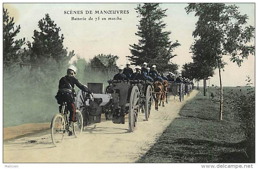 - Ref -L 310 - Militaria - Scenes De Manoeuvres - Batterie De 75 - Materiel - Regiment - Regiments - Militaires - - Manovre