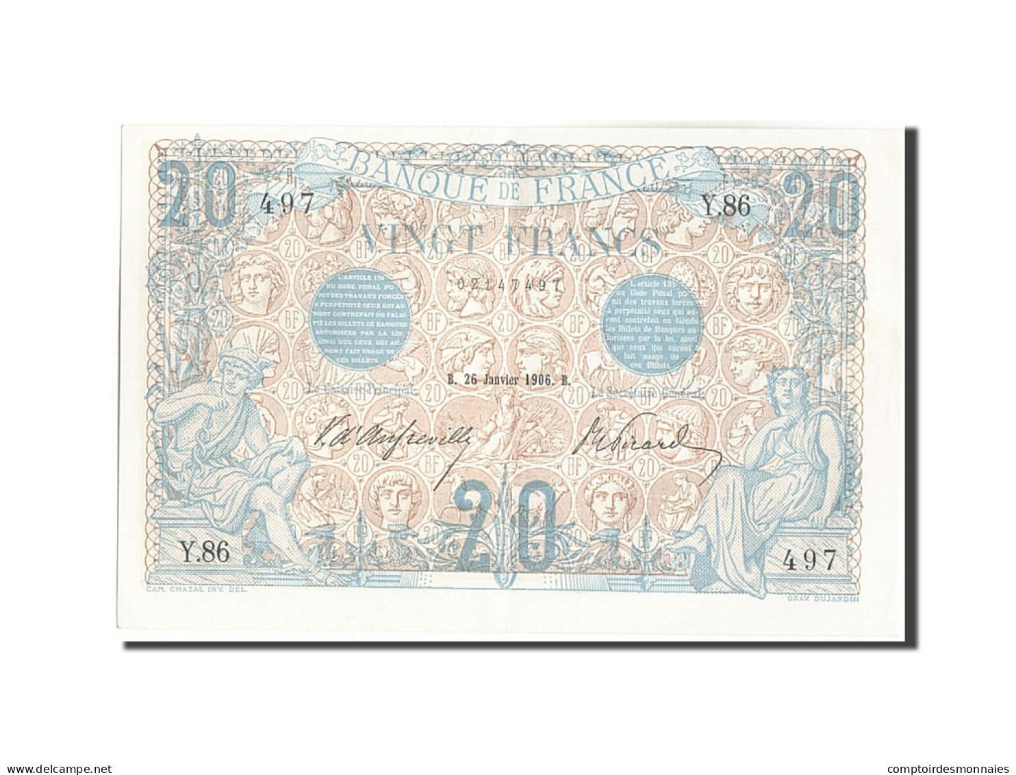 France, 20 Francs, 20 F 1905-1913 ''Bleu'', 1906, 1906-01-26, KM:68a, SPL+, F... - 1871-1952 Circulated During XXth
