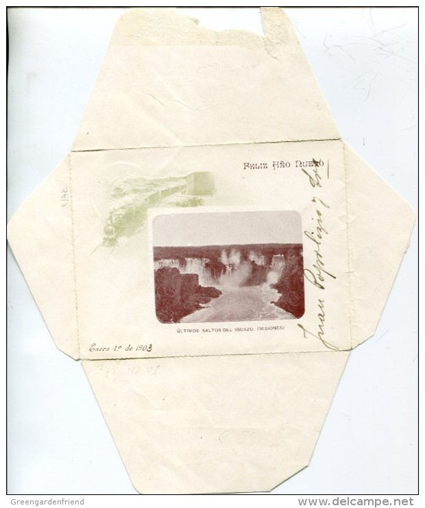 8995, Argentina,stationery Cover Circuled 1903 Showing The Waterfall Wasserfall Cascade Of Iguazu (see 2 Scans) - Water
