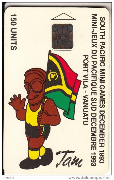 VANUATU - South Pacific Mini Games/Tam & Flag(150 Units), CN : C3A000596, Tirage 5000, 10/93, Used - Vanuatu