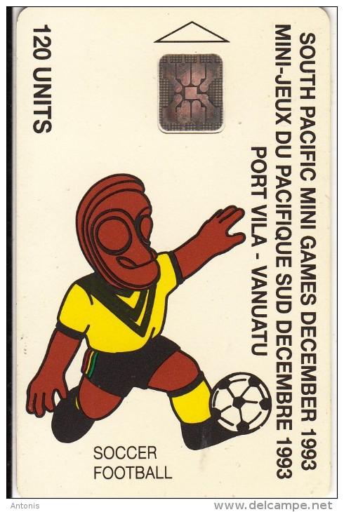 VANUATU - South Pacific Mini Games/Football(120 Units), CN : C3A000599, Tirage 3000, 10/93, Used - Vanuatu