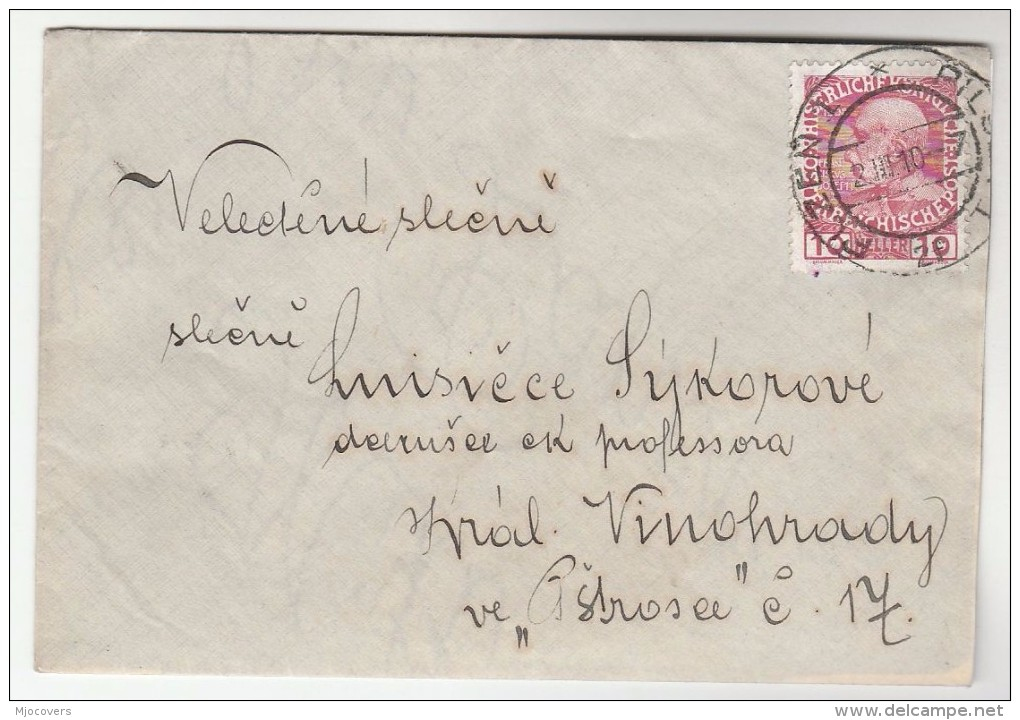 1910 Pilsen Czech AUSTRIA  Stamps COVER Plzen - Covers & Documents