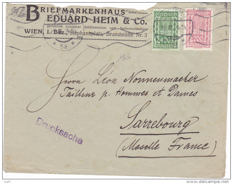 1807# AUTRICHE LETTRE TARIF IMPRIME DRUCKSACHE Obl WIEN 1934 OESTERREICH Pour SARREBOURG MOSELLE LORRAINE - Poststempel (Briefe)