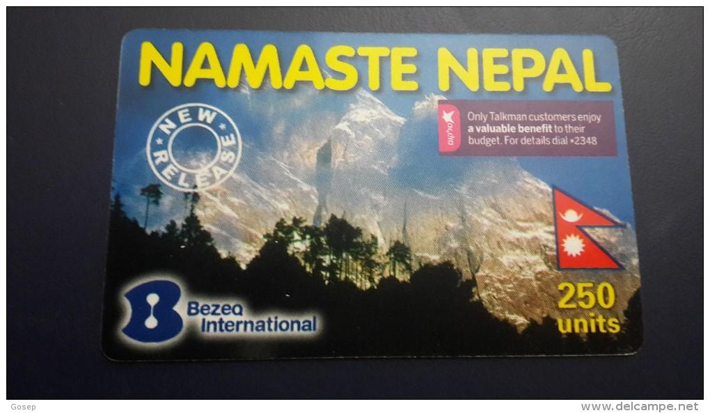 Nepal-namaste Nepal Logo Cellcom(250units)-used Card+1card Prepiad Free - Nepal