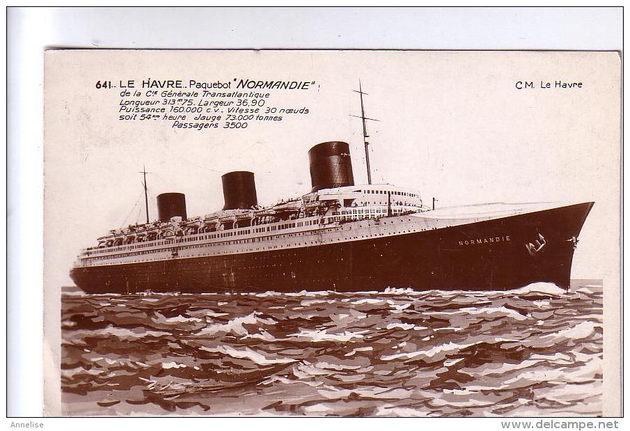 76  LE HAVRE  Paquebot NORMANDIE CPA 1935 - Paquebots