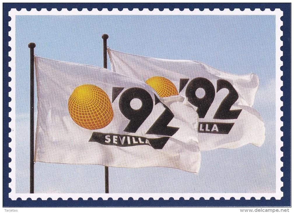 POSTAL DE ESPAÑA DE LA EXPO'92 DE SEVILLA - BANDERA - Exposiciones