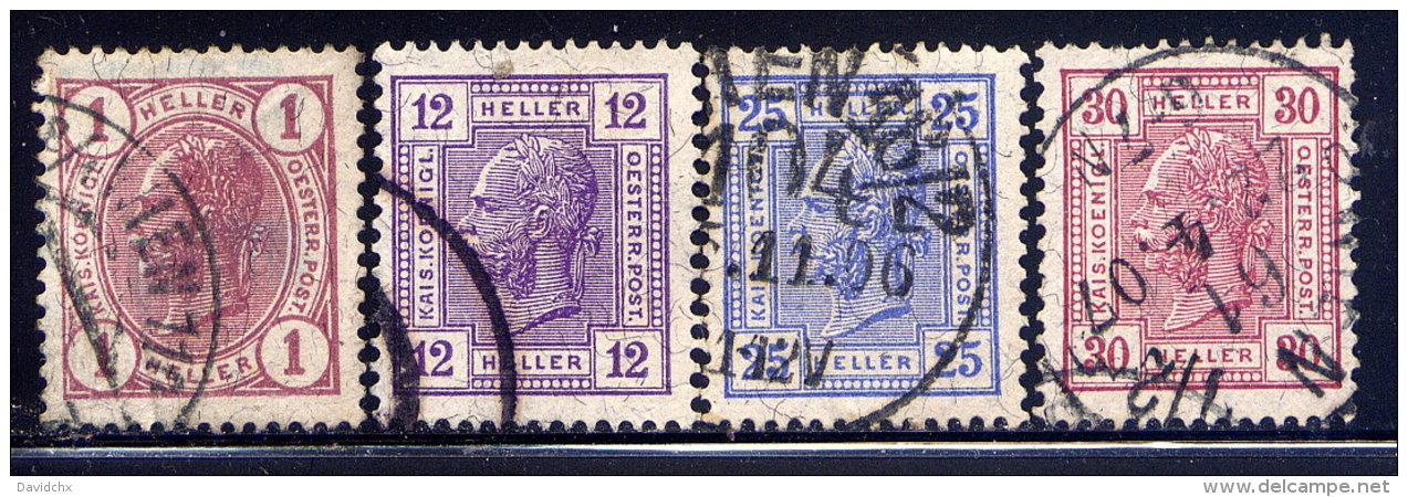 AUSTRIA, NO.'S 86, 93, 95 & 96 - 1850-1918 Empire
