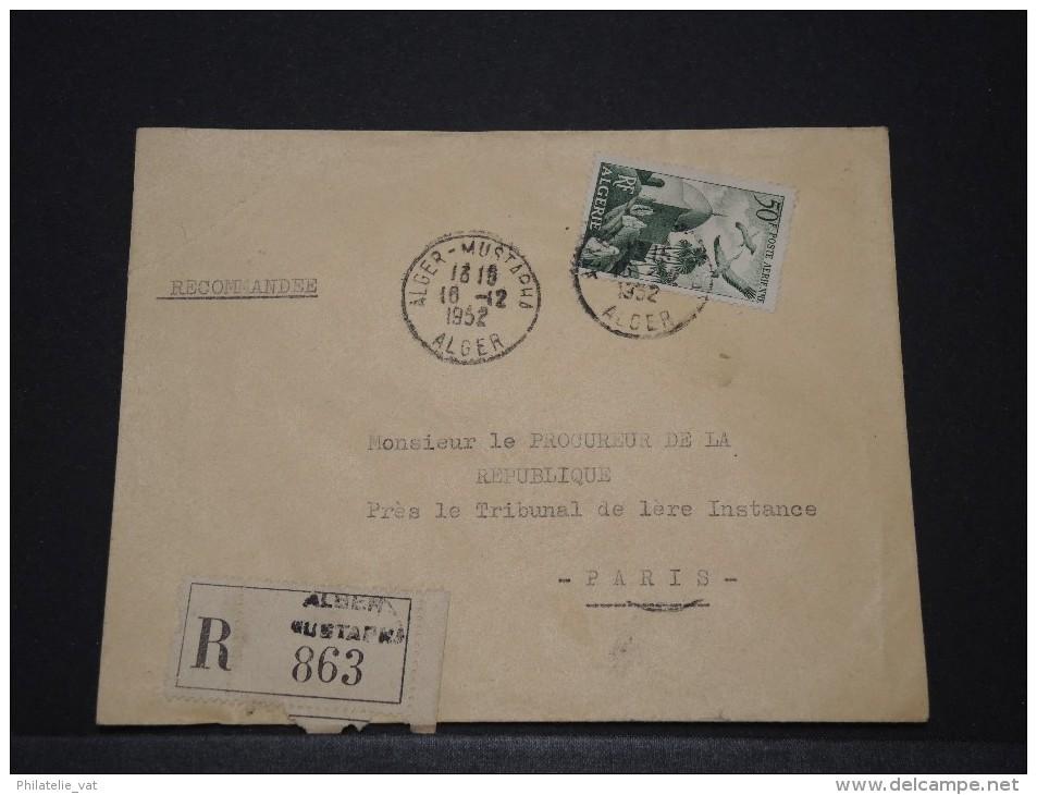 ALGERIE - Env Recommandée Pour La France - 1952 - A Voir - P17905 - Algeria (1924-1962)