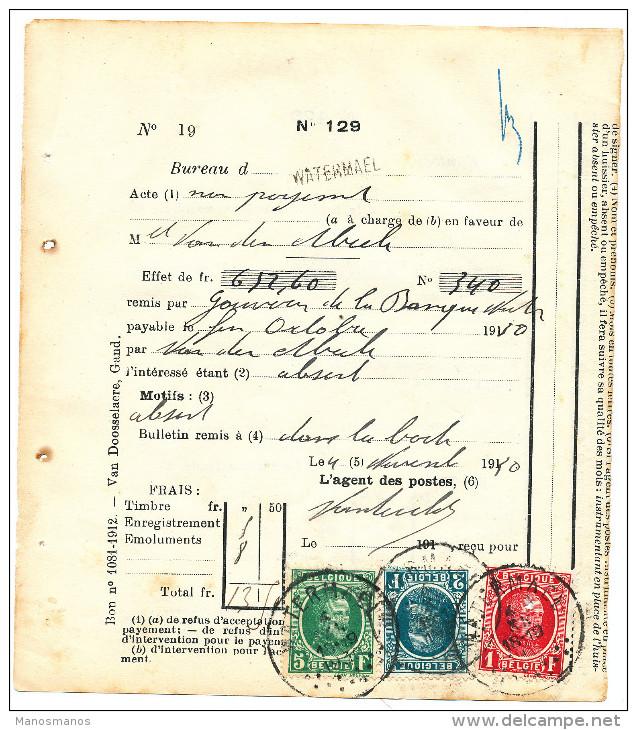 501/24 - PROTET De Non Paiement TP Houyoux , Dont 5 F Vert  - Griffe Et Cachet WATERMAEL 1930 - 1922-1927 Houyoux
