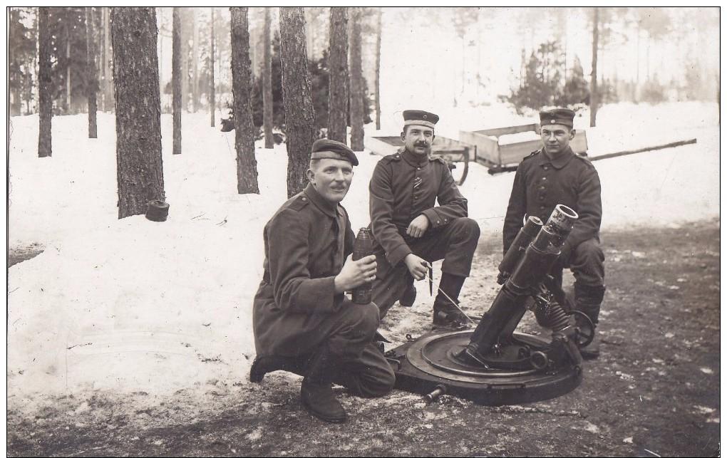 Foto Deutsche Soldaten 1.Weltkrieg Mittlerer Minenwerfer Mine Thrower Granatwerfer Schützengraben Nitrolit Leverkusen - Oorlog, Militair