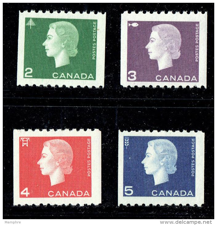 1962  Queen Elizabeth II Cameo Coil Stamps  Complete Set Of 4   Sc 406-9  MNH - 1952-.... Règne D'Elizabeth II
