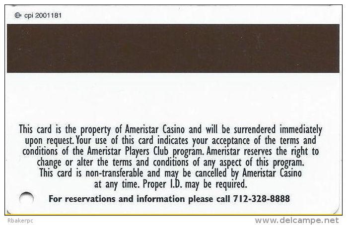 Ameristar Casino Council Bluffs, IA - Slot Card - CPI 2001181 Over Mag Stripe - Casino Cards
