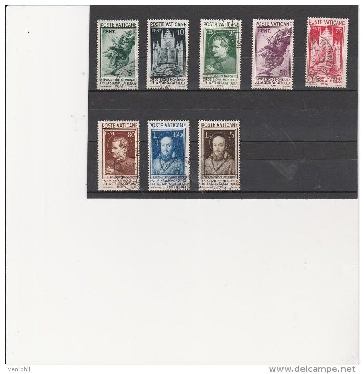VATICAN - SERIE N° 72 A 79 OBLITERE TB  ANNEE 1936 - COTE : 100 € - ...-1929 Préphilatélie