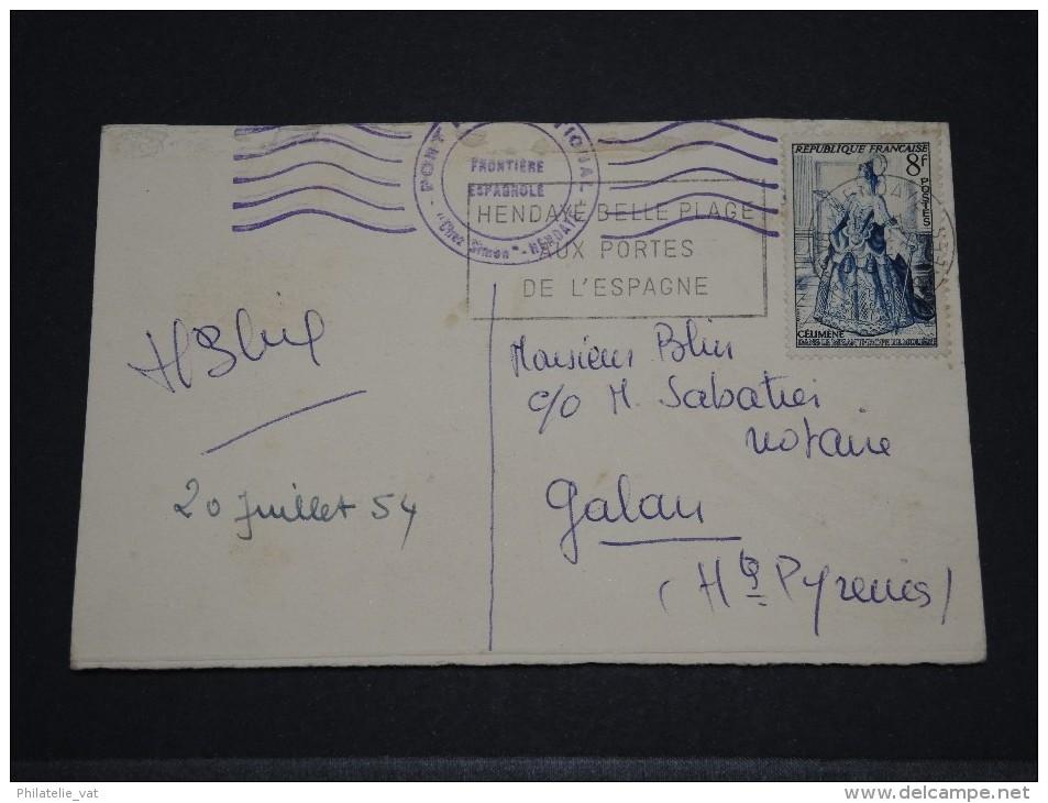FRANCE - Carte Avec Cachet Frontière Espagnole - Juil 1954 - A Voir - P18598 - Marcophilie (Lettres)