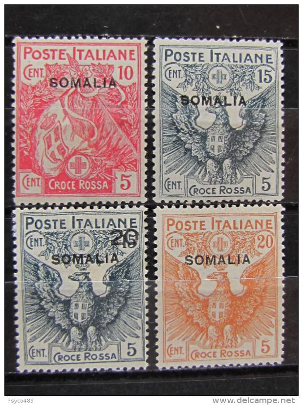 """ITALIA Somalia -1916- """"Croce Rossa Sopr."""" Cpl. 4 Val. MH* (descrizione) - Somalia"""