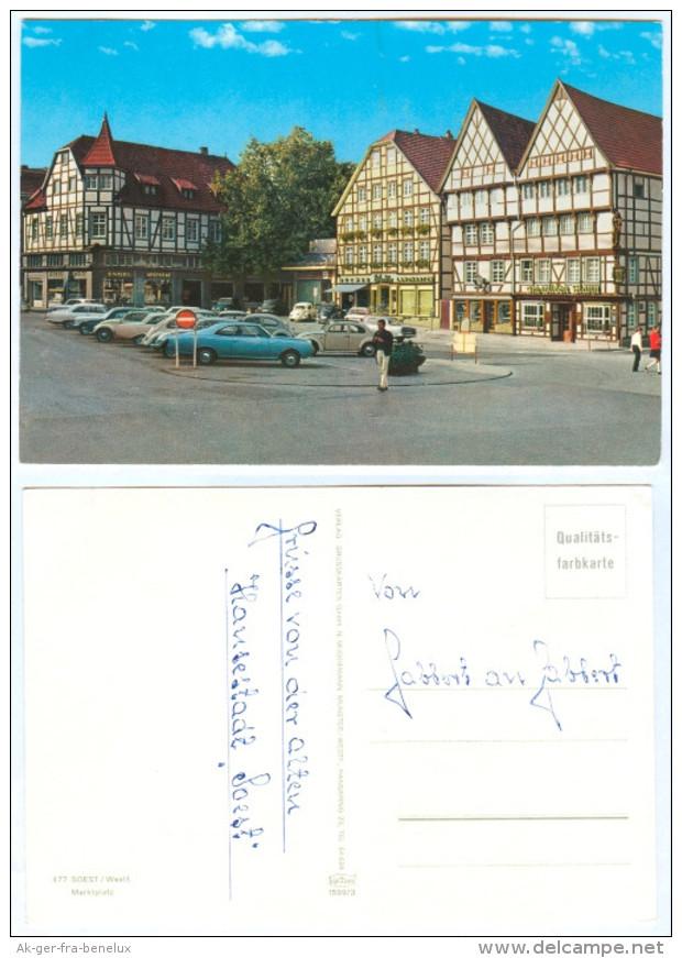 AK Soest In Westfalen Marktplatz Autos Engel-Apotheke Buchladen Deutschland NRW Nordrhein-Westfalen Germany Allemagne - Soest