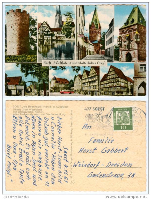 AK Soest Kattenturm Osthofentor Jacobitor Wiesenkirche Freiligrath-Haus Großer Teich Rathausstraße Deutschland Weixdorf - Soest