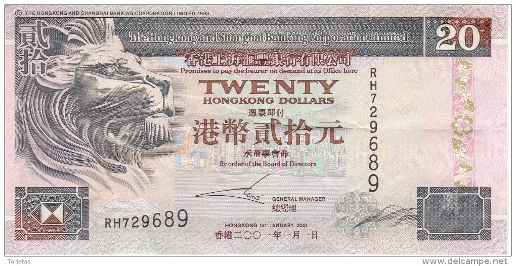 BILLETE DE HONG KONG DE 20 DOLLARS DEL AÑO 2001 (BANKNOTE) - Hong Kong